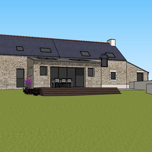 Démolition d''un appentis pour extension de maison + Construction de garage - Ploeuc l''Hermitage (22)