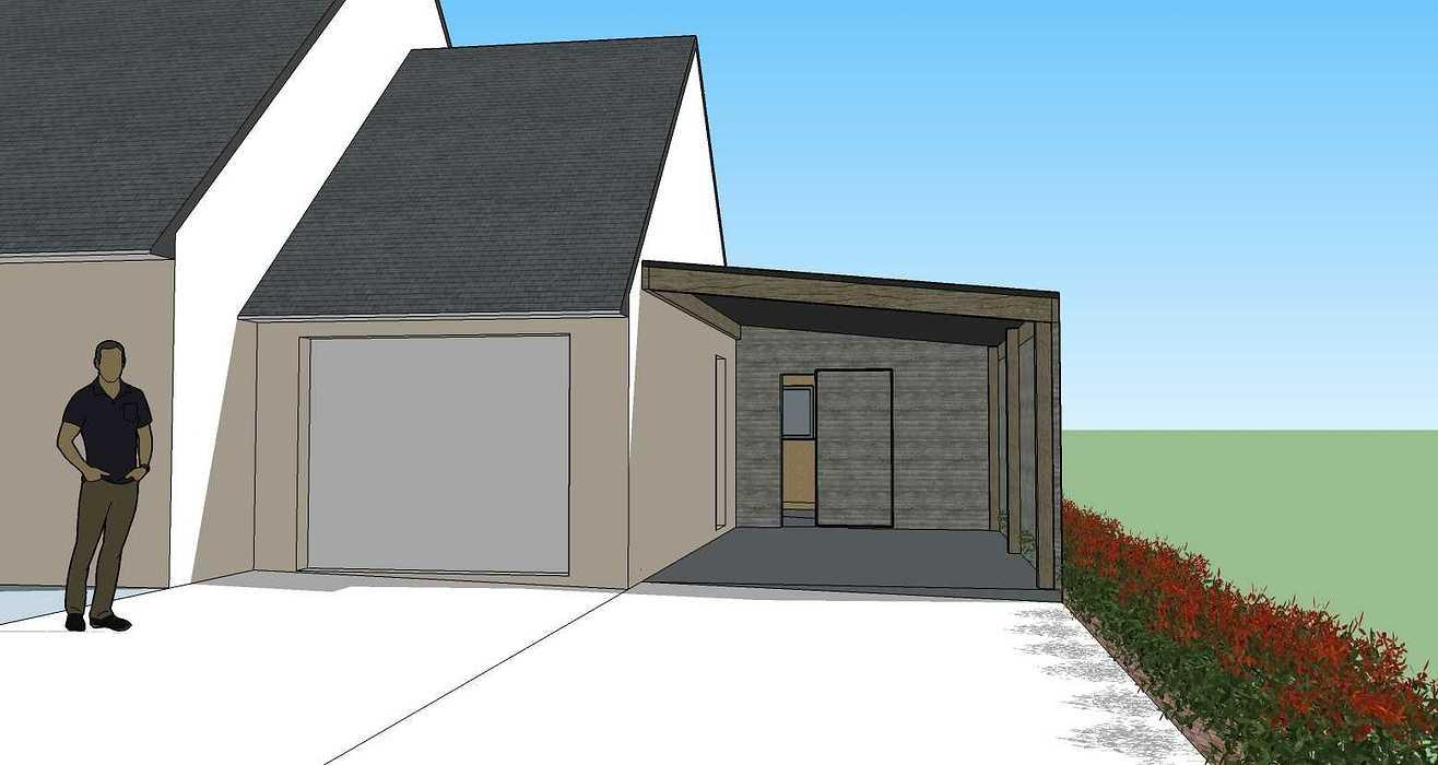 Projet d''extension - Abri de jardin et carport accolé à la maison -Évellys (56) 200313lanninc3d1
