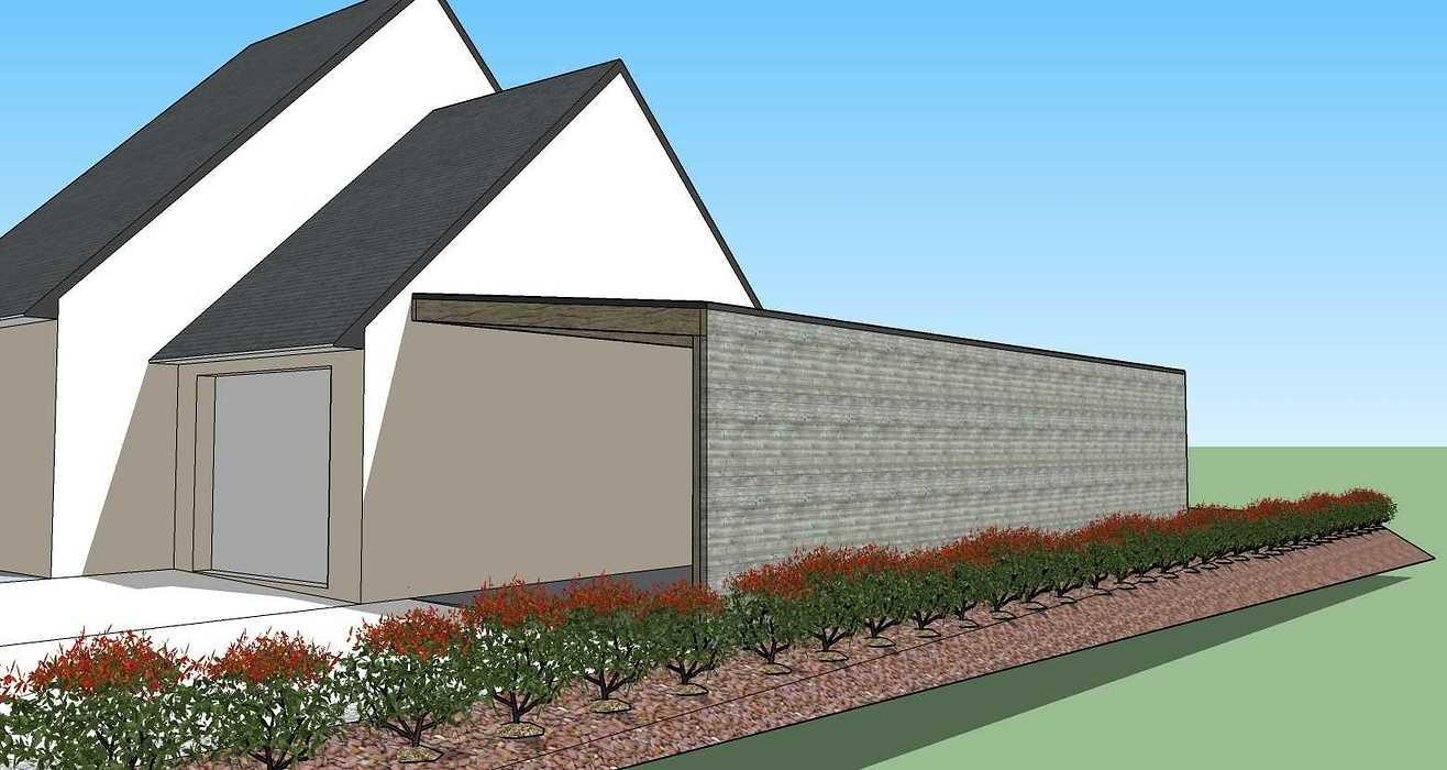 Projet d''extension - Abri de jardin et carport accolé à la maison -Évellys (56) 200313lanninc3d2
